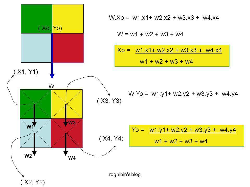 roghibin s blog W4 W3 W2 W1 ( X1, Y1) ( X2, Y2) ( X3, Y3) ( X4, Y4) W ( Xo, Yo) W.Xo = w1.x1+ w2.x2 + w3.x3 + w4.x4 Xo = w1.x1+ w2.x2 + w3.x3 + w4.x4 w1 + w2 + w3 + w4 W = w1 + w2 + w3 + w4 W.Yo = w1.y1+ w2.y2 + w3.y3 + w4.y4 Yo = w1.y1+ w2.y2 + w3.y3 + w4.y4 w1 + w2 + w3 + w4