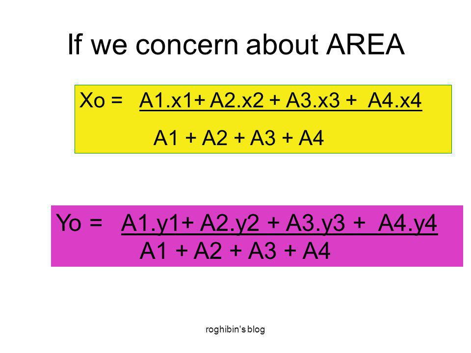 roghibin's blog If we concern about AREA Xo = A1.x1+ A2.x2 + A3.x3 + A4.x4 A1 + A2 + A3 + A4 Yo = A1.y1+ A2.y2 + A3.y3 + A4.y4 A1 + A2 + A3 + A4