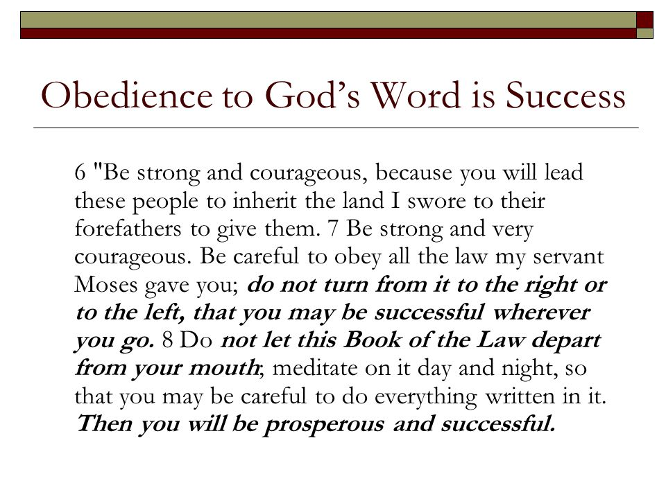 Obedience to God's Word is Success 6