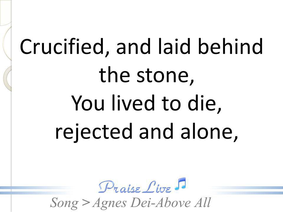 Song > Crucified, and laid behind the stone, You lived to die, rejected and alone, Agnes Dei-Above All