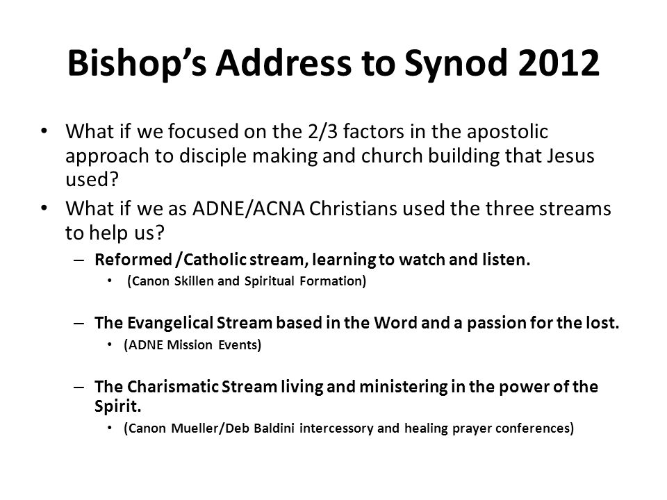 Bishop's Address to Synod 2012 What if we focused on the 2/3 factors in the apostolic approach to disciple making and church building that Jesus used.