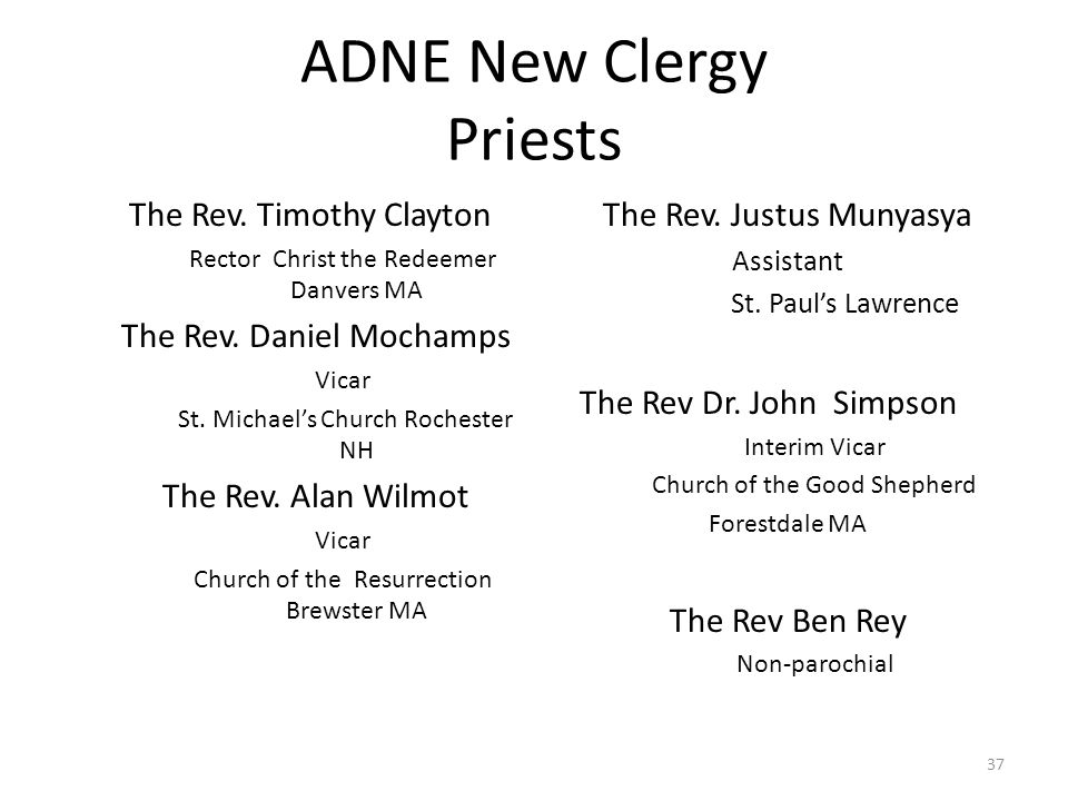 ADNE New Clergy Priests The Rev. Timothy Clayton Rector Christ the Redeemer Danvers MA The Rev.