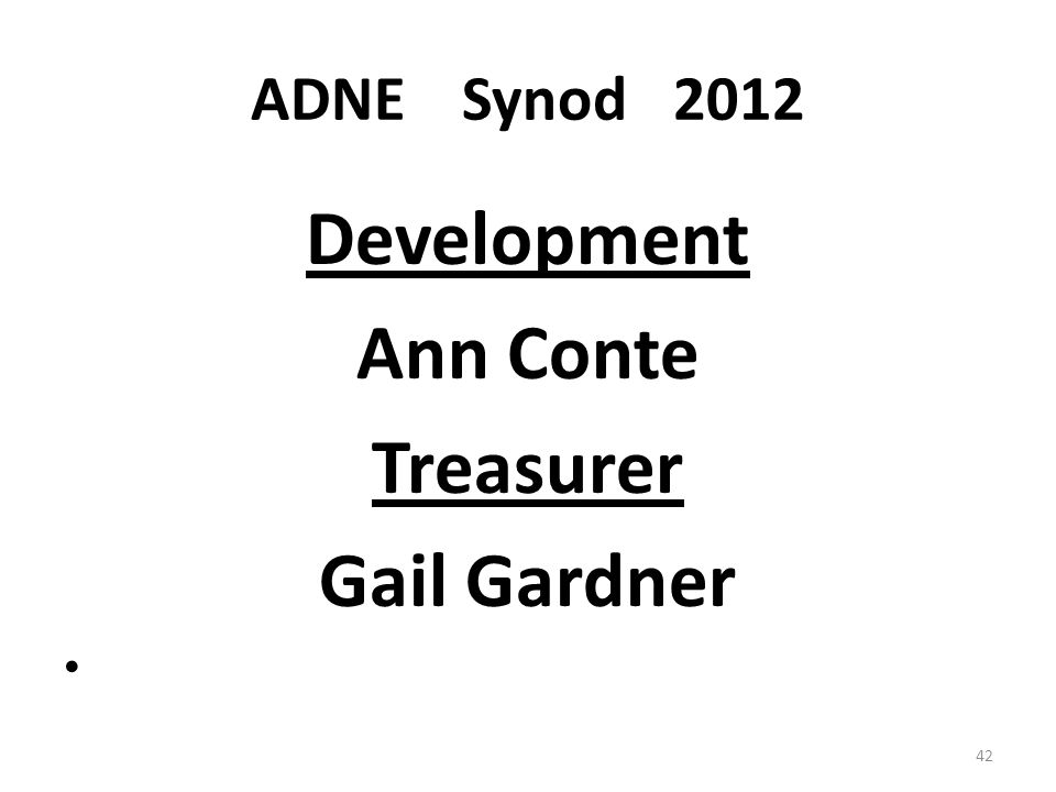 ADNESynod2012 Development Ann Conte Treasurer Gail Gardner 42