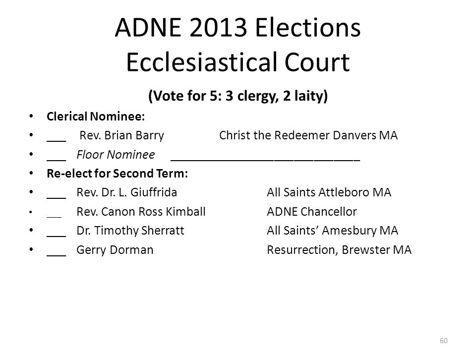 ADNE 2013 Elections Ecclesiastical Court (Vote for 5: 3 clergy, 2 laity) Clerical Nominee: ___ Rev.