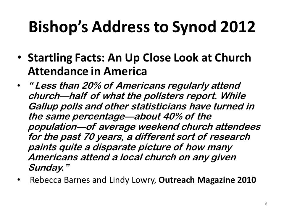 Bishop's Address to Synod 2012 Startling Facts: An Up Close Look at Church Attendance in America Less than 20% of Americans regularly attend church—half of what the pollsters report.