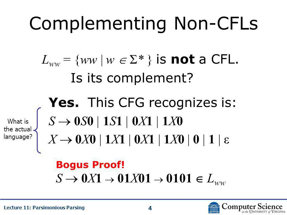 4 Lecture 11: Parsimonious Parsing Complementing Non-CFLs L ww = {ww | w  Σ* } is not a CFL.