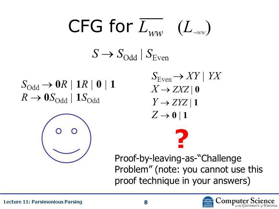 8 Lecture 11: Parsimonious Parsing CFG for L ww (L  ww ) S  S Odd | S Even S Odd  0R | 1R | 0 | 1 R  0S Odd | 1S Odd S Even  XY | YX X  ZXZ | 0 Y  ZYZ | 1 Z  0 | 1 .