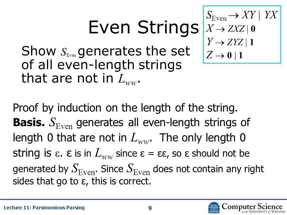 9 Lecture 11: Parsimonious Parsing Even Strings Show S Even generates the set of all even-length strings that are not in L ww. Proof by induction on t