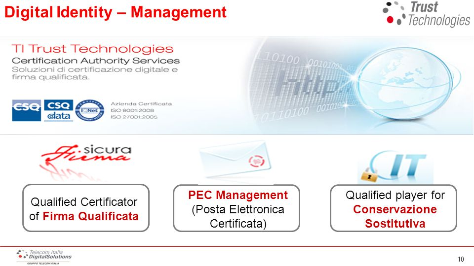 Digital Identity – Management Qualified player for Conservazione Sostitutiva PEC Management (Posta Elettronica Certificata) Qualified Certificator of Firma Qualificata 10