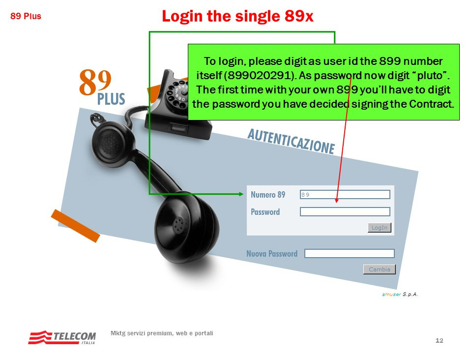 89 Plus Mktg servizi premium, web e portali 12 Login the single 89x To login, please digit as user id the 899 number itself (899020291).
