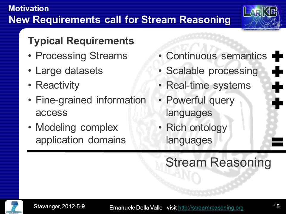 Emanuele Della Valle - visit http://streamreasoning.orghttp://streamreasoning.org Motivation New Requirements call for Stream Reasoning Typical Requirements Processing Streams Large datasets Reactivity Fine-grained information access Modeling complex application domains Continuous semantics Scalable processing Real-time systems Powerful query languages Rich ontology languages Stream Reasoning Stavanger, 2012-5-915