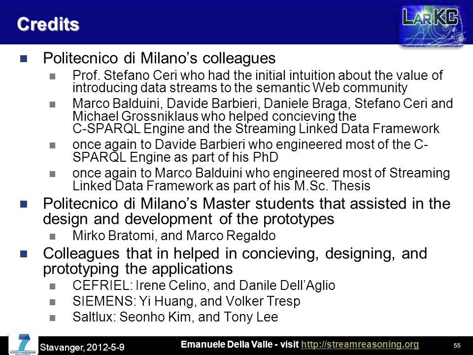 Emanuele Della Valle - visit http://streamreasoning.orghttp://streamreasoning.orgCredits Politecnico di Milano's colleagues Prof.