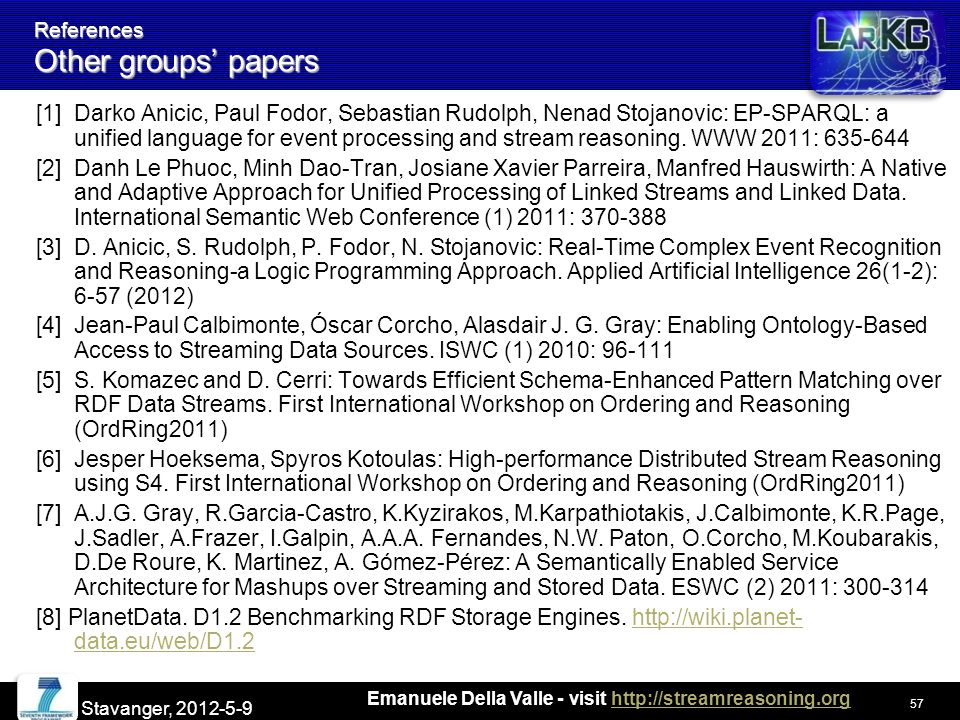 Emanuele Della Valle - visit http://streamreasoning.orghttp://streamreasoning.org References Other groups' papers [1] Darko Anicic, Paul Fodor, Sebastian Rudolph, Nenad Stojanovic: EP-SPARQL: a unified language for event processing and stream reasoning.