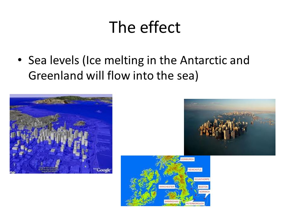 The effect Sea levels (Ice melting in the Antarctic and Greenland will flow into the sea)