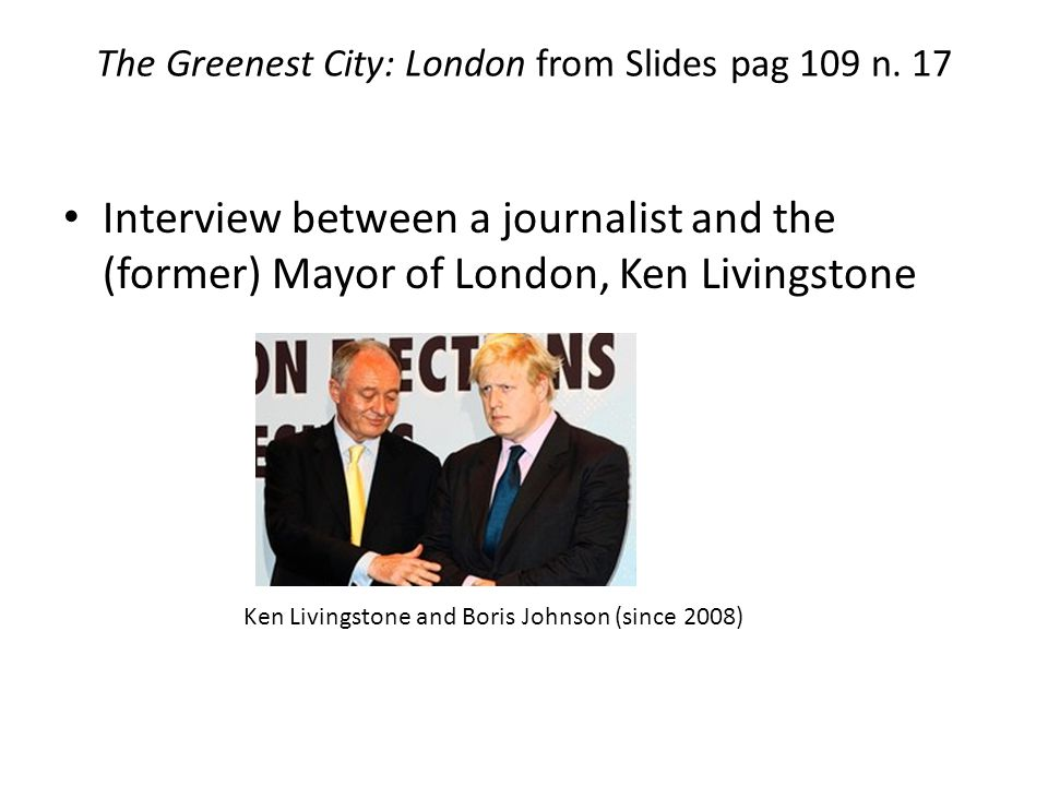 The Greenest City: London from Slides pag 109 n.
