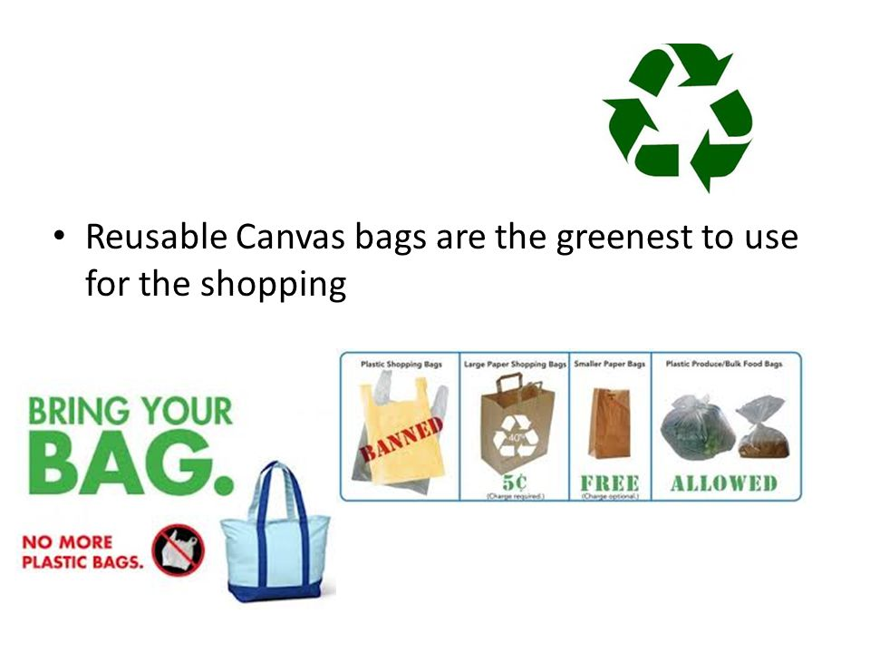 Reusable Canvas bags are the greenest to use for the shopping
