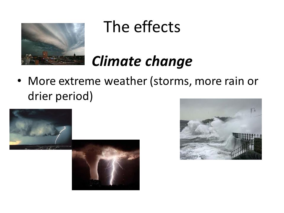 The effects Climate change More extreme weather (storms, more rain or drier period)