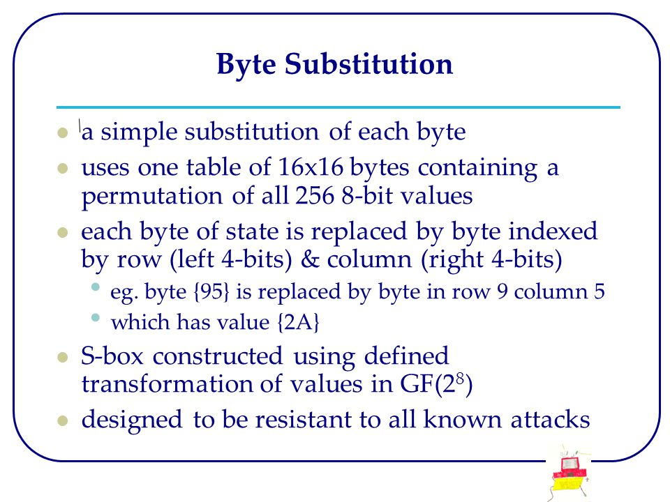 Byte Substitution a simple substitution of each byte uses one table of 16x16 bytes containing a permutation of all 256 8-bit values each byte of state is replaced by byte indexed by row (left 4-bits) & column (right 4-bits) eg.