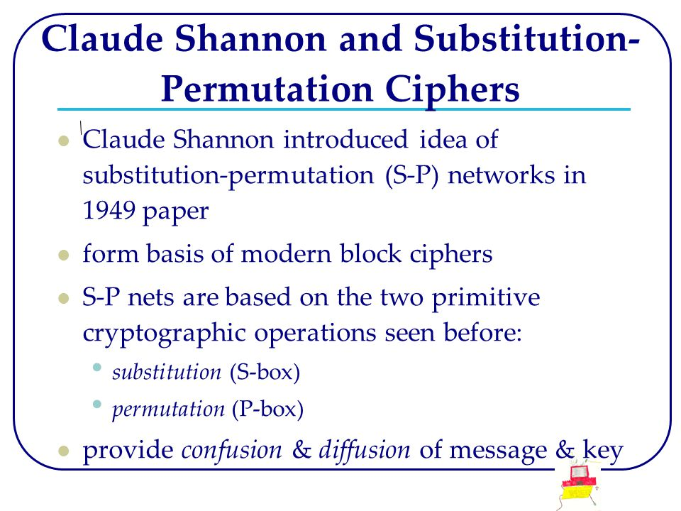 Claude Shannon and Substitution- Permutation Ciphers Claude Shannon introduced idea of substitution-permutation (S-P) networks in 1949 paper form basi