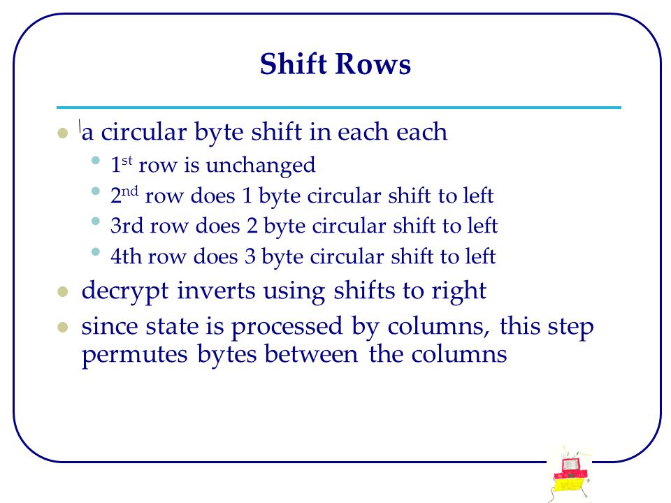 Shift Rows a circular byte shift in each each 1 st row is unchanged 2 nd row does 1 byte circular shift to left 3rd row does 2 byte circular shift to left 4th row does 3 byte circular shift to left decrypt inverts using shifts to right since state is processed by columns, this step permutes bytes between the columns