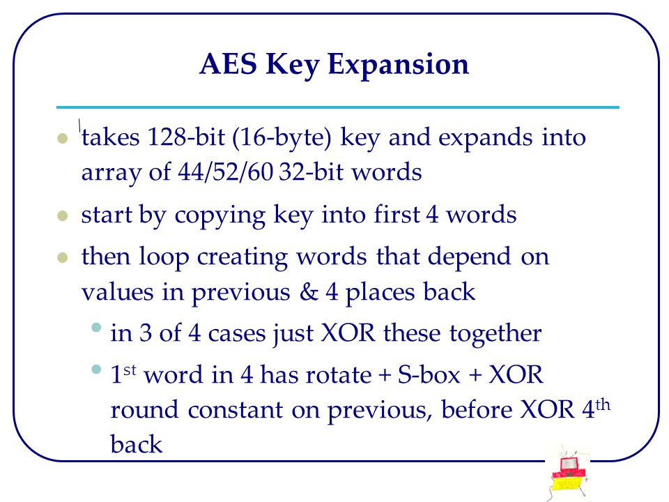 AES Key Expansion takes 128-bit (16-byte) key and expands into array of 44/52/60 32-bit words start by copying key into first 4 words then loop creati