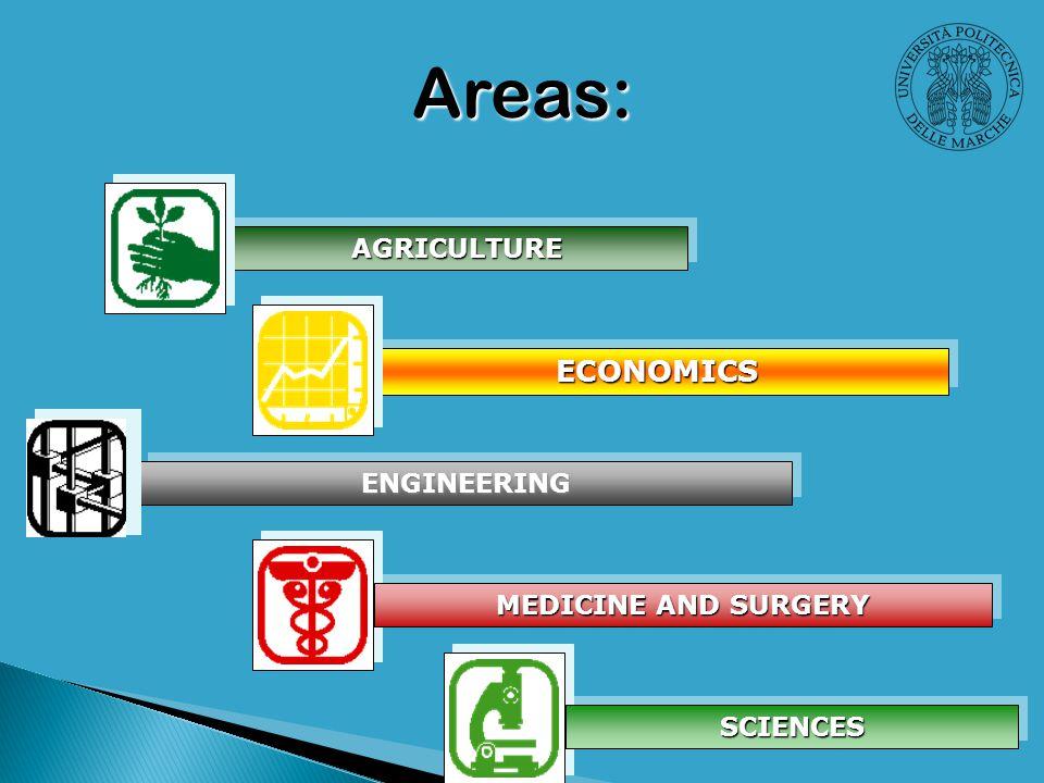 AGRICULTUREAGRICULTURE ECONOMICSECONOMICS SCIENCESSCIENCES MEDICINE AND SURGERY ENGINEERINGENGINEERING Areas: