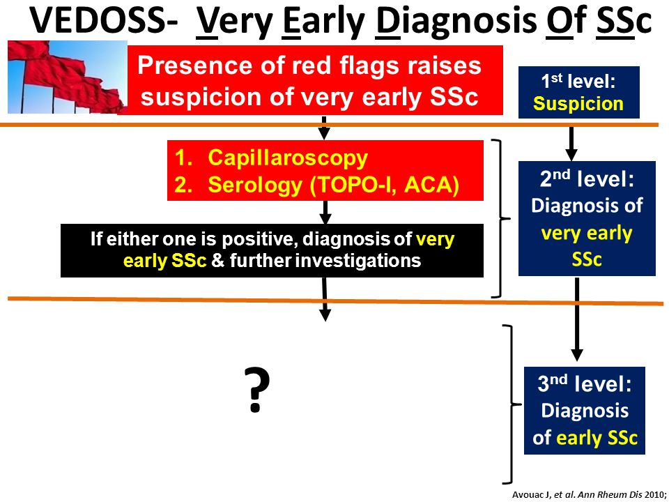 1.Capillaroscopy 2.Serology (TOPO-I, ACA) If either one is positive, diagnosis of very early SSc & further investigations 1 st level: Suspicion 2 nd l