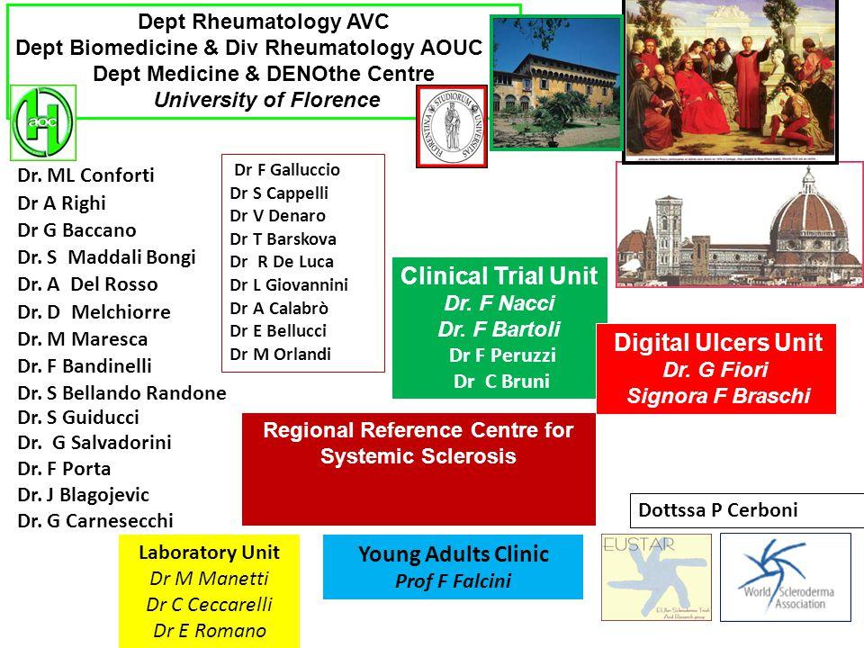 Dept Rheumatology AVC Dept Biomedicine & Div Rheumatology AOUC Dept Medicine & DENOthe Centre University of Florence Dr. ML Conforti Dr A Righi Dr G B