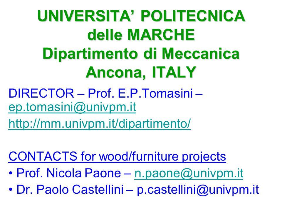 UNIVERSITA' POLITECNICA delle MARCHE Dipartimento di Meccanica Ancona, ITALY DIRECTOR – Prof. E.P.Tomasini – ep.tomasini@univpm.it ep.tomasini@univpm.