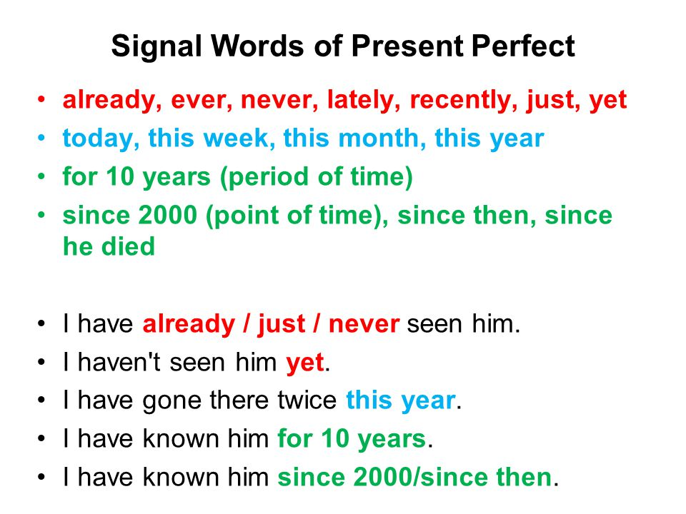 Signal Words of Present Perfect already, ever, never, lately, recently, just, yet today, this week, this month, this year for 10 years (period of time