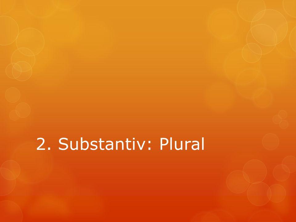2. Substantiv: Plural