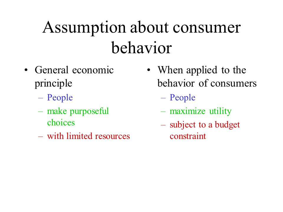 Assumption about consumer behavior General economic principle –People –make purposeful choices –with limited resources When applied to the behavior of consumers –People –maximize utility –subject to a budget constraint