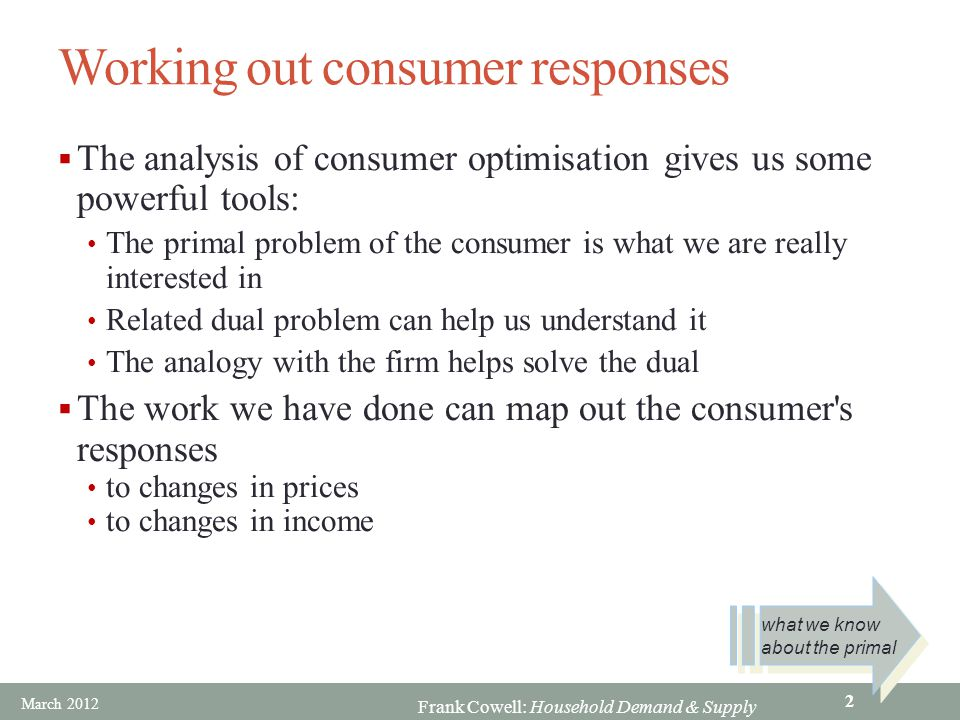 Frank Cowell: Household Demand & Supply Working out consumer responses  The analysis of consumer optimisation gives us some powerful tools: The prima