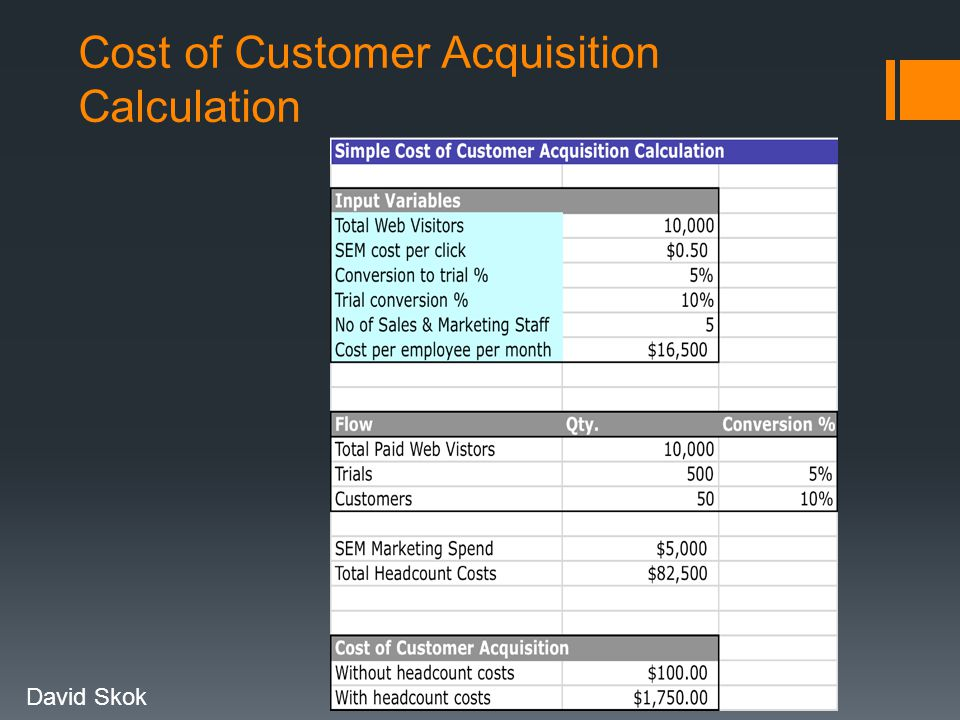 Cost of Customer Acquisition Calculation David Skok