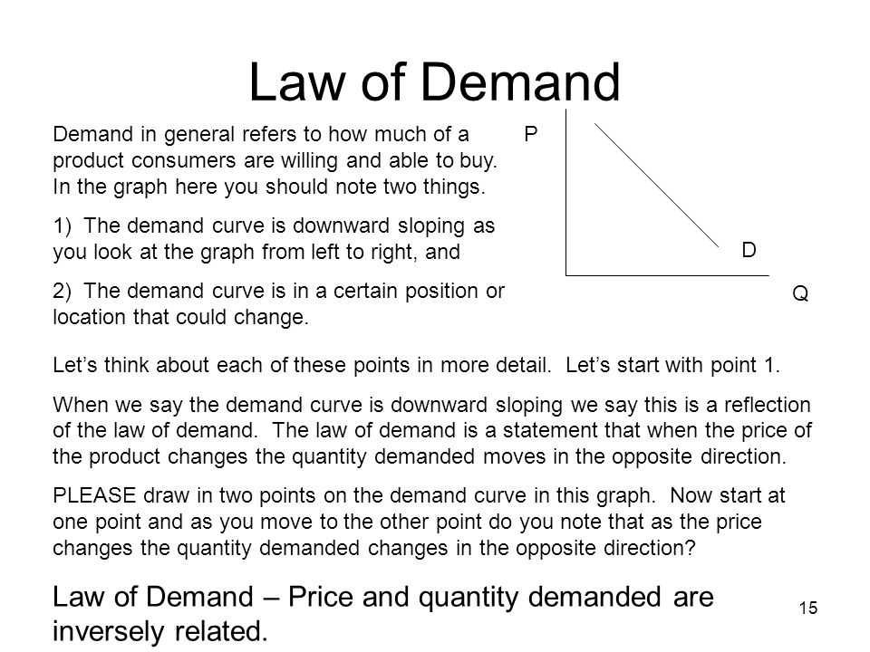15 P Q D Demand in general refers to how much of a product consumers are willing and able to buy. In the graph here you should note two things. 1) The