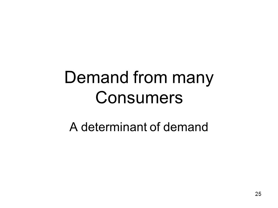 25 Demand from many Consumers A determinant of demand