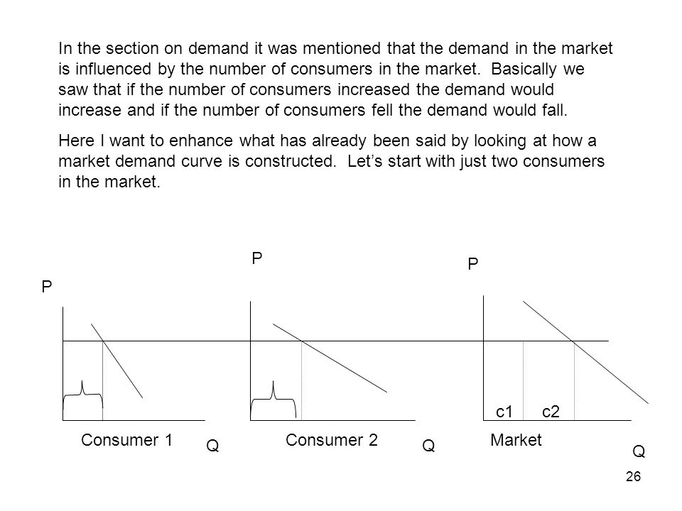 26 In the section on demand it was mentioned that the demand in the market is influenced by the number of consumers in the market. Basically we saw th