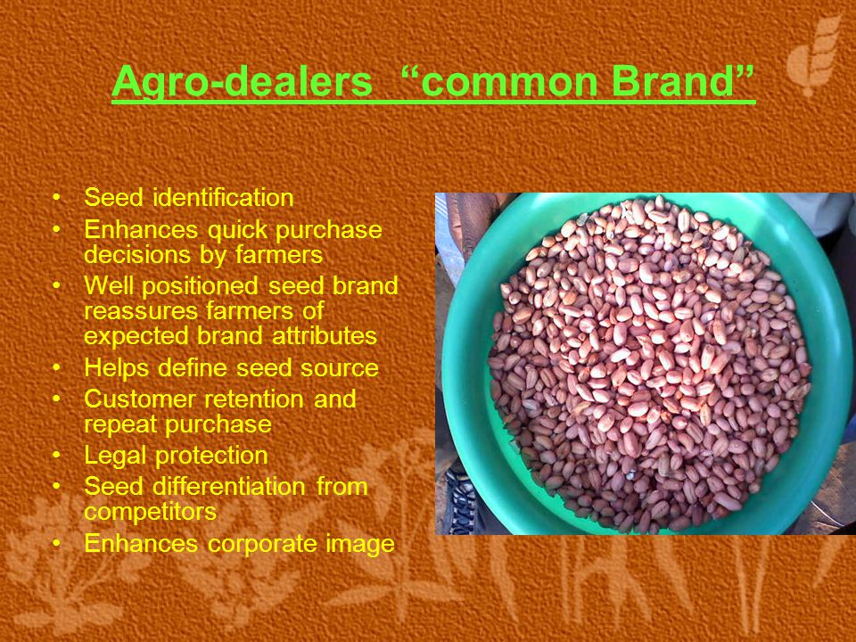 """Agro-dealers """"common Brand"""" Seed identification Enhances quick purchase decisions by farmers Well positioned seed brand reassures farmers of expected"""