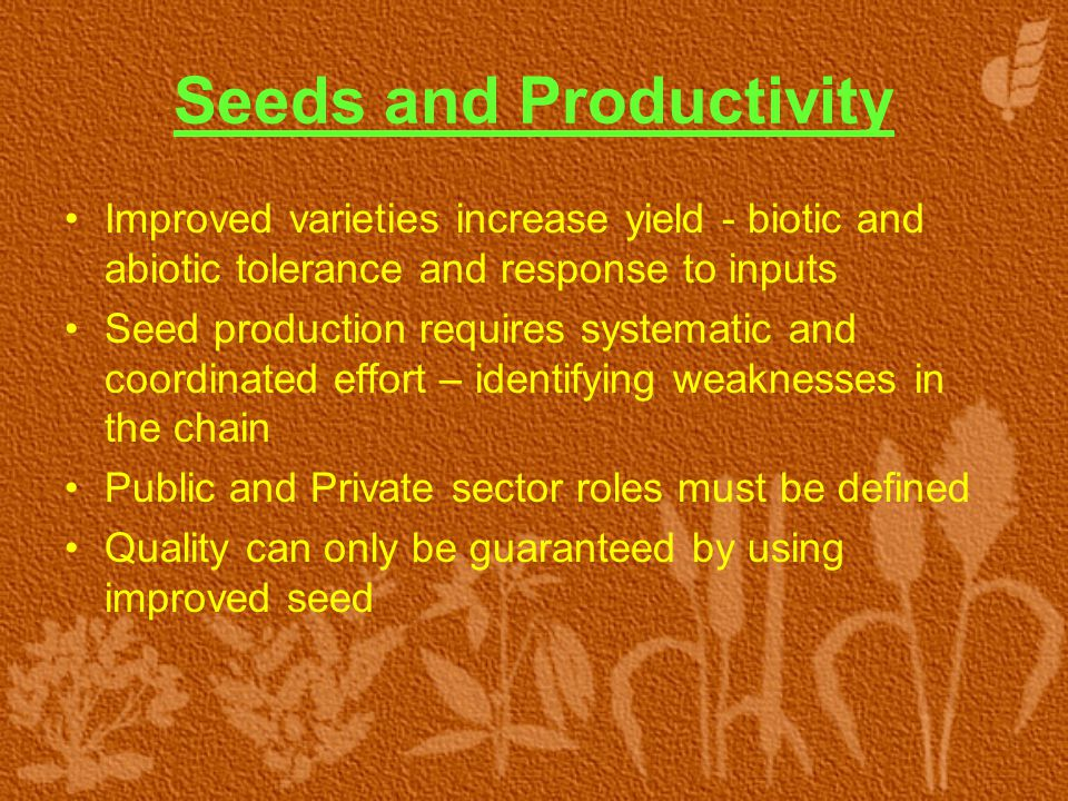 Seeds and Productivity Improved varieties increase yield - biotic and abiotic tolerance and response to inputs Seed production requires systematic and coordinated effort – identifying weaknesses in the chain Public and Private sector roles must be defined Quality can only be guaranteed by using improved seed