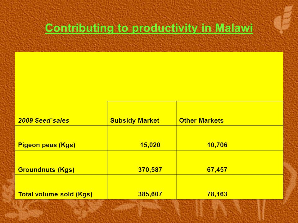 Contributing to productivity in Malawi 2009 Seed`sales Subsidy MarketOther Markets Pigeon peas (Kgs) 15,020 10,706 Groundnuts (Kgs) 370,587 67,457 Total volume sold (Kgs) 385,607 78,163