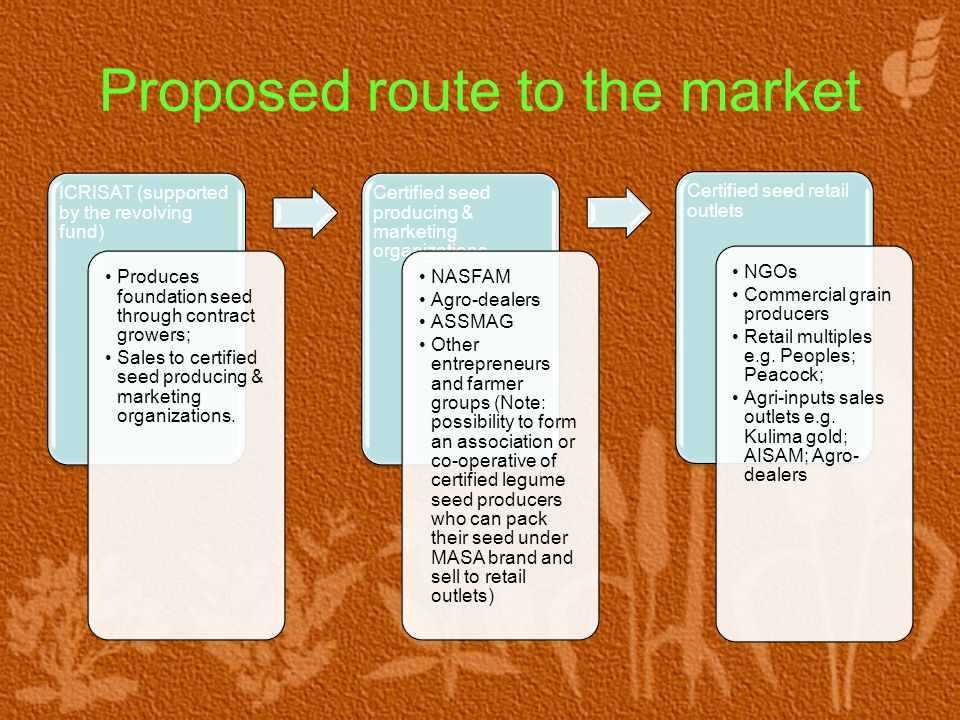 Proposed route to the market ICRISAT (supported by the revolving fund) Produces foundation seed through contract growers; Sales to certified seed producing & marketing organizations.