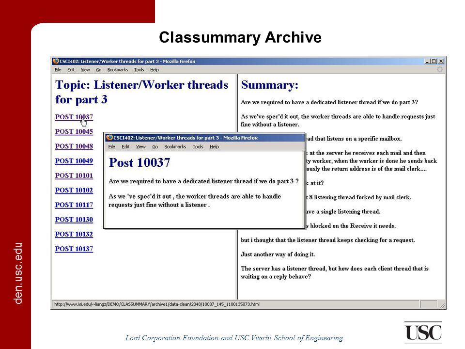 den.usc.edu Lord Corporation Foundation and USC Viterbi School of Engineering Classummary Archive