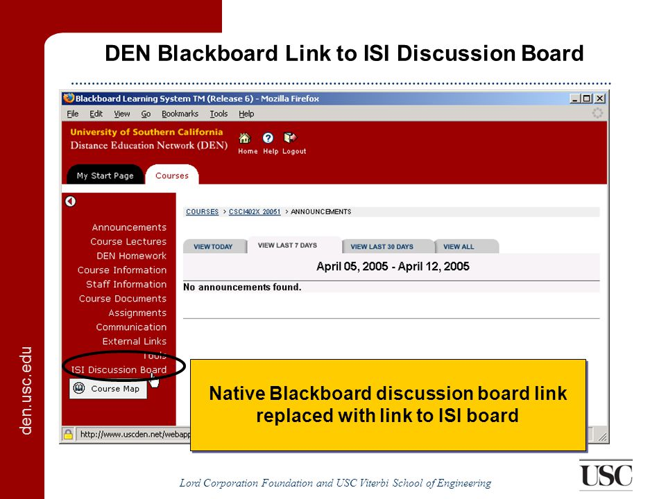 den.usc.edu Lord Corporation Foundation and USC Viterbi School of Engineering ISI Discussion Board Blackboard sends user profile and discussion board automatically registers user
