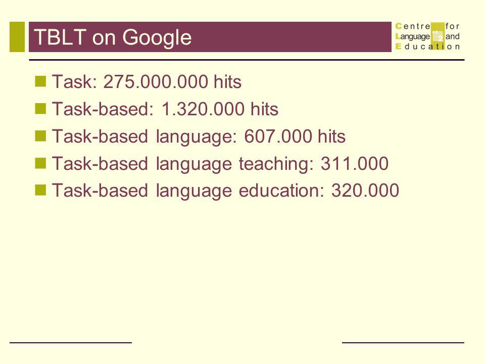 TBLT on Google Task: 275.000.000 hits Task-based: 1.320.000 hits Task-based language: 607.000 hits Task-based language teaching: 311.000 Task-based la
