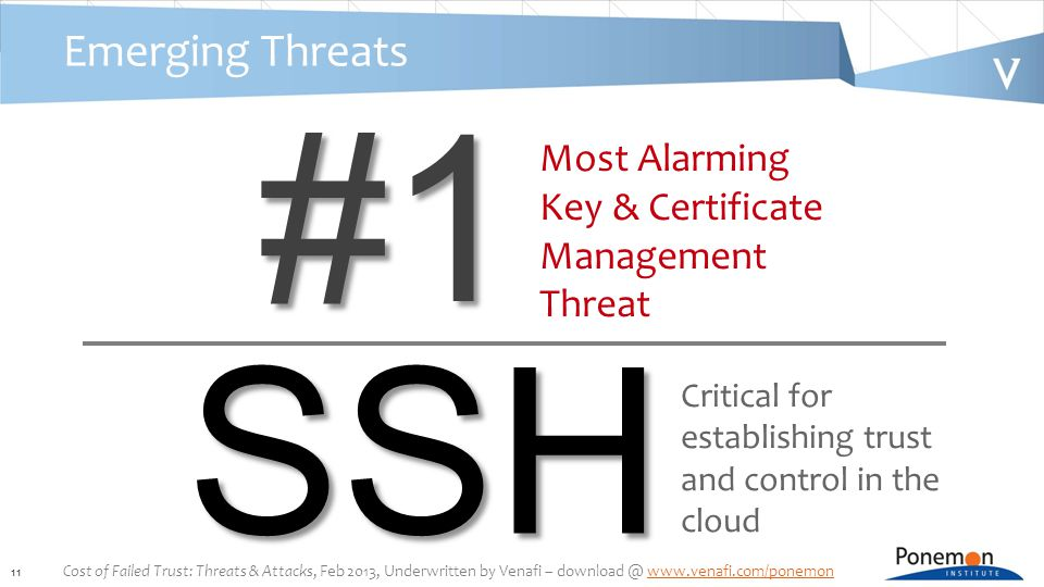 11 Emerging Threats#1 Most Alarming Key & Certificate Management Threat SSH Critical for establishing trust and control in the cloud Cost of Failed Trust: Threats & Attacks, Feb 2013, Underwritten by Venafi – download @ www.venafi.com/ponemonwww.venafi.com/ponemon
