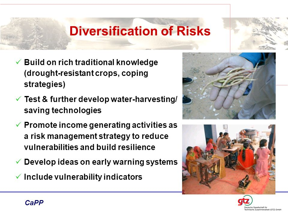 Diversification of Risks Build on rich traditional knowledge (drought-resistant crops, coping strategies) Test & further develop water-harvesting/ saving technologies Promote income generating activities as a risk management strategy to reduce vulnerabilities and build resilience Develop ideas on early warning systems Include vulnerability indicators