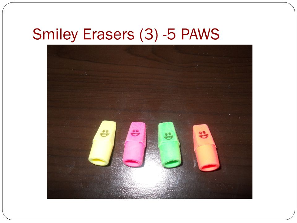 Smiley Erasers (3) -5 PAWS