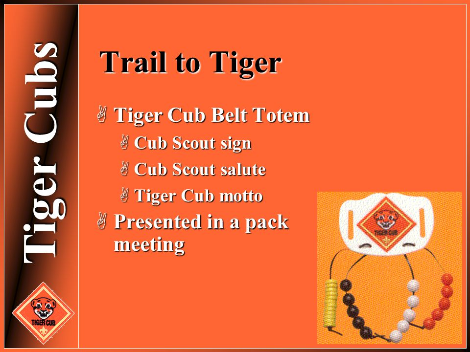 Tiger Cubs Trail to Tiger  Tiger Cub Belt Totem  Cub Scout sign  Cub Scout salute  Tiger Cub motto  Presented in a pack meeting
