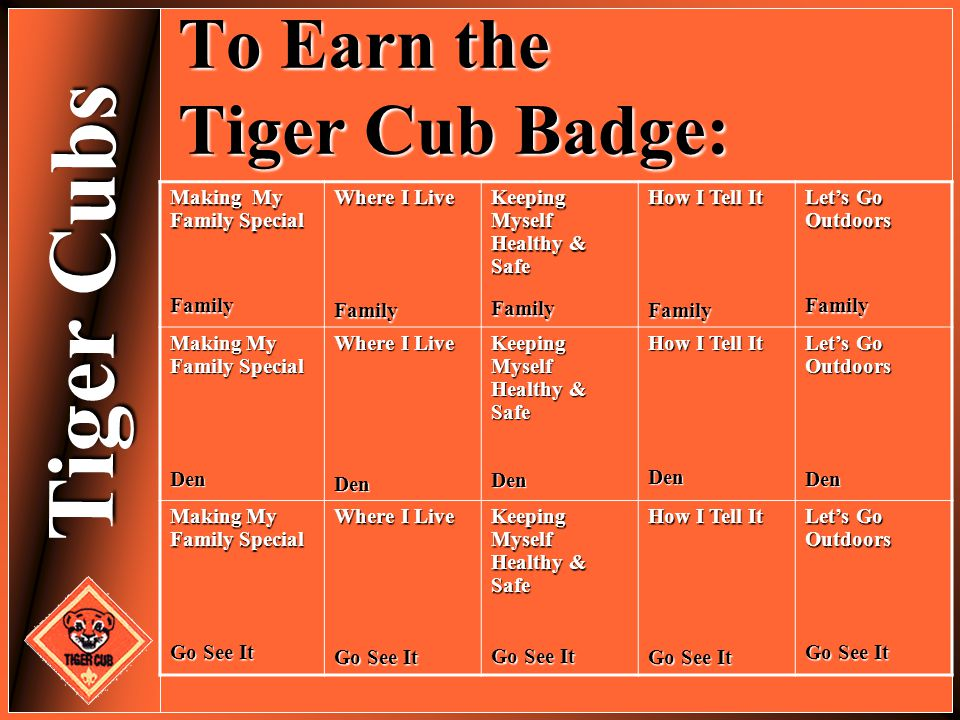Tiger Cubs To Earn the Tiger Cub Badge: Making My Family Special Family Where I Live Family Keeping Myself Healthy & Safe Family How I Tell It Family