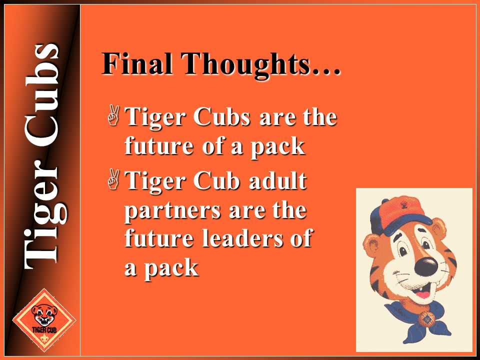 Tiger Cubs Final Thoughts…  Tiger Cubs are the future of a pack  Tiger Cub adult partners are the future leaders of a pack